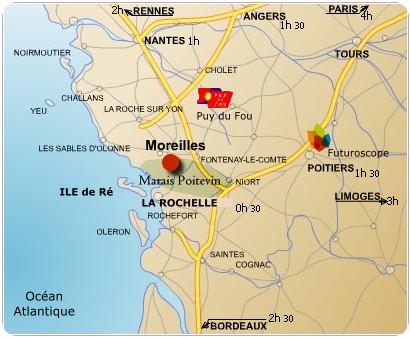 Carte - comment venir à l'hôtel à Moreilles